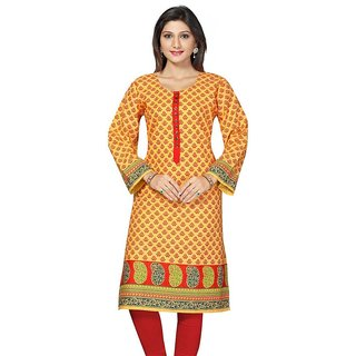Printed Kurtis Yellow Long Cotton
