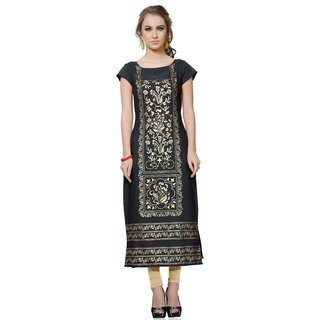 Beamish Women'S Grey Colour Foil Print Crepe Kurti