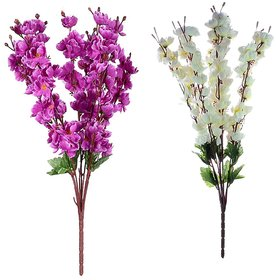 6th Dimensions Artificial Peach Blossom White  Purple Flower Bunch Home Decor (Pack of 2)