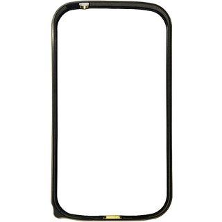 Aluminium Metal Dual Gold Line Bumper Case for Samsung Galaxy Grand i9082 - Black