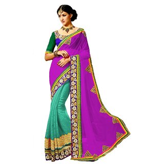 KHODALENTERPRISE1997 Embroidered Work With Blouse Multicolored Georgette Saree 159