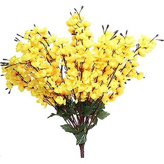 Buy 6th dimensions artificial peach blossom yellow flower bunch home 6th dimensions artificial peach blossom yellow flower bunch home decor 18 sticks mightylinksfo