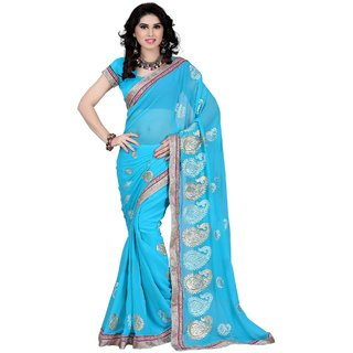 NEW DESIGNER GEORGETTE SAREE-Blue-SSC164-VM-Georgette