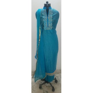 Turquoise check cotton unstitched suit with zari lace hem and embroidered neck