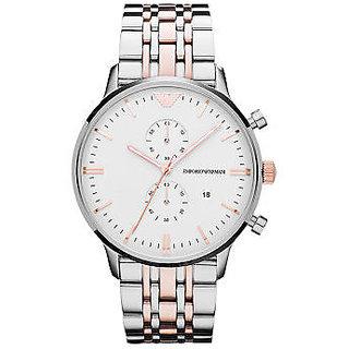 Emporio Armani AR-1648, Dark White Dial Chronograph Watch For Men