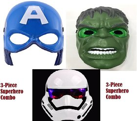 Superhero 3 piece attack Combo of Super hero LED Face Mask Hulk Captain starwar