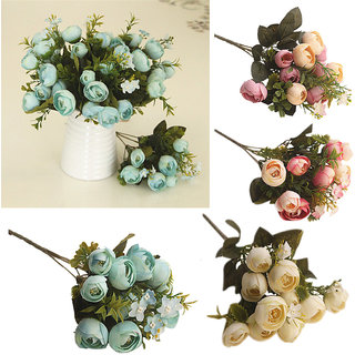 6th Dimensions Artificial 5-Fork Camellia Tea Rose Flower Bouquet Home Wedding Party Decoration