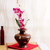 Wooden Flower Vase With Brass On Laid Work