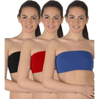 6eaa1d6bfe388 ( Pack of 3 )seamless non padded non wire strapless bandeau full side  covrage tube