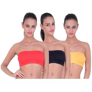 ( Pack of  3 )seamless non padded non wire strapless bandeau full side covrage tube bra for women's and girl s fit size ( 28 in to 36 in)