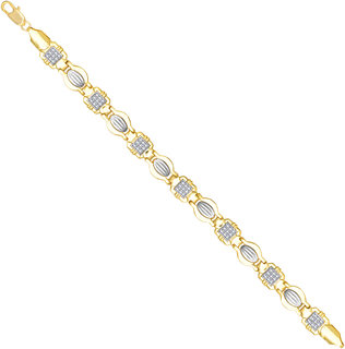 VK Jewels Gold And Rhodium Plated Alloy Bracelet for Men & boys made with Cubic Zirconia - BR2347G [VKBR2347G]
