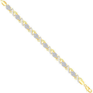 VK Jewels Gold And Rhodium Plated Alloy Bracelet for Men & Boys made with Cubic Zirconia - BR2317G [VKBR2317G]