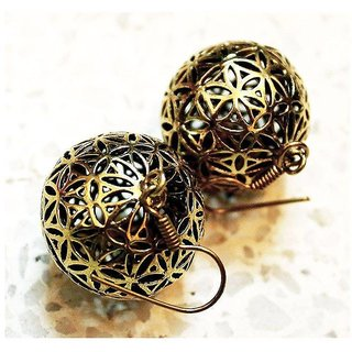 Oxidised Metal Gold Color Ethnic Dangle Earrings Spherical Shape Contemporary Design