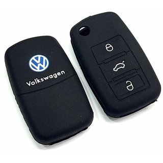 CP Bigbasket Pair Of Two (2) Pieces Silicon Key Cover for Volkswagen Polo , Vento , Jetta Flip Key Remote (Black)