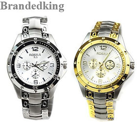 Rosra Full Silver, Silver Gold Silver Dile Analog Watch