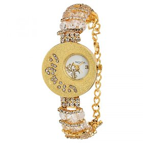 RIDIQA Analog Crystal Studded Golden Dial Stainless Steel Golden Wrist Watch ForGirls, Women-RD-033