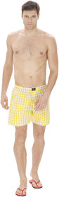 KARPA Yellow and White Chequred Cotton Boxer for Men