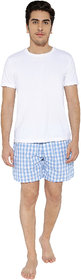 KARPA Blue and White Chequred Cotton Boxer for Men