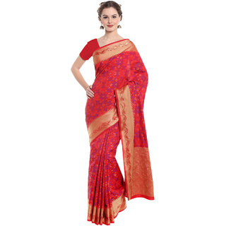 Meia Gold & Red Cotton Silk Self Design Saree With Blouse