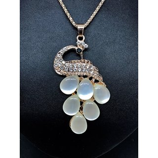 Peacock Golden Crystal Necklace Pendant