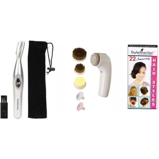 Style Maniac combo of Painless eyebrow/ear/nose hair remover and 6 in 1 reversible face peeling set with an amazing free