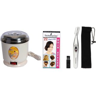 Style Maniac combo of Painless eyebrow/ear/nose hair remover and unbreakable shiny wax heater with an amazing freebie ha