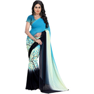 Vistaar Creation Blue Georgette Floral Saree With Blouse