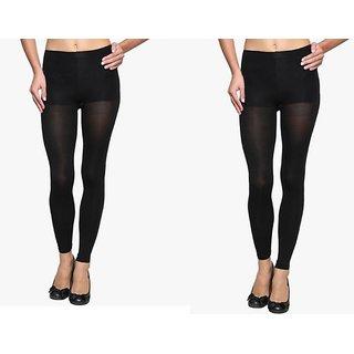 0205351c40 Buy Tahiro Black Cotton Micro Fiber Stocking Pantyhose - Pack Of 2 ...