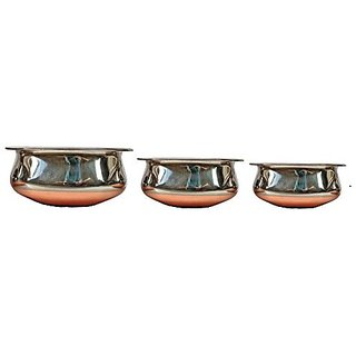 Set of 3 Copper Bottom Serving Bowls with lid