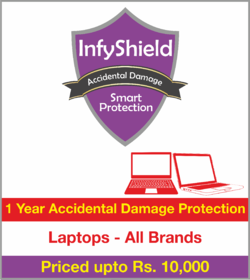 InfyShield 1 Yr Accidental Damage Protetion on Laptop Priced Upto Rs.10000