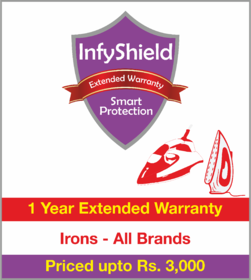 InfyShield 1 Yr Extended Warranty on Irons Priced Upto Rs.3000
