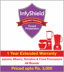 InfyShield 1 Yr Extended Warranty on Juicers, Mixers, Grinders and Food Processors Priced Upto Rs.3000