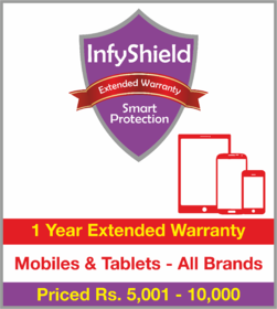 InfyShield 1 Yr Extended Warranty on Mobiles & Tablets Priced Rs.5001 - 10000