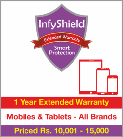 InfyShield 1 Yr Extended Warranty on Mobiles & Tablets Priced Rs.10001 - 15000