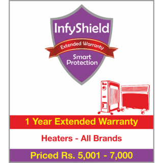 InfyShield 1 Yr Extended Warranty on Heaters Priced Rs.5001 - 7000