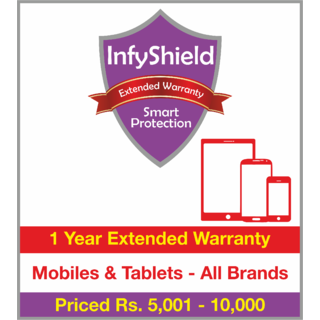 InfyShield 1 Yr Extended Warranty on Mobiles  Tablets Priced Rs.5001 - 10000