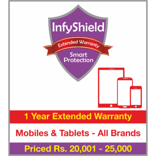 InfyShield 1 Yr Extended Warranty on Mobiles & Tablets Priced Rs.20001 - 25000