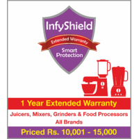 InfyShield 1 Yr Extended Warranty on Juicers, Mixers, Grinders and Food Processors Priced Rs.10001 - 15000