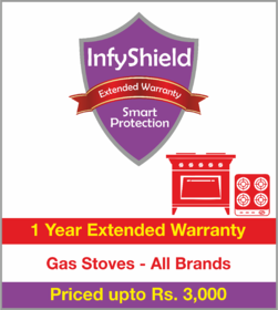 InfyShield 1 Yr Extended Warranty on Gas Stoves Priced Upto Rs.3000