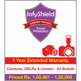 InfyShield 1 Yr Extended Warranty on Point and Shoot Cameras, DSLRs & Lenses Priced Rs.100001 - 125000