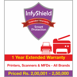 InfyShield 1 Yr Extended Warranty on Printers, Scanners & MFDs Priced Rs.200001 - 250000