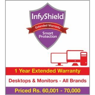 InfyShield 1 Yr Extended Warranty on Desktops & Monitors Priced Rs.60001 - 70000