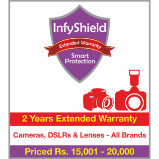 InfyShield 2 Yrs Extended Warranty on Point and Shoot Cameras, DSLRs & Lenses Priced Rs.15001 - 20000