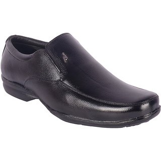 ShoeAdda Black Slip On Leather Shoe 730