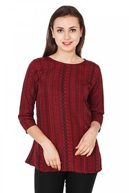Jollify Maroon Animal Round Neck Basic For Women