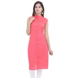 Chichi Pink Plain Cotton Stitched Straight Kurti