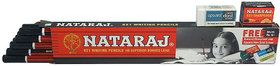 (Free 10 Eraser and 10 sharpners) Natraj Pencil 621 HB Pack of 10 (10X10)