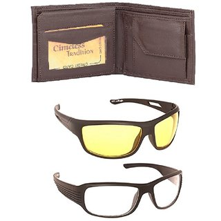Fashno Combo Of Brown Wallet And Night Drive Sunglasses (Pack Of 3)