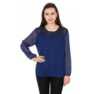 Jollify women's crepe mesh star blue top(STOP03Meshstarblutop)
