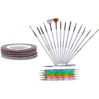 Looks United 15 Nail Kit Art Brushes, 5 Two Way Dotting Tools, 5 Glitter Striping Tape Rolls (Set of 25)